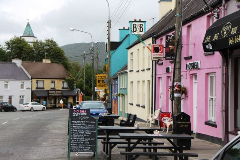 Colorful houses and shops in Sneem on the Ring of KErry