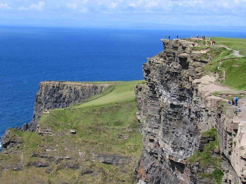 Cliff top walk at the Cliffs of Moher