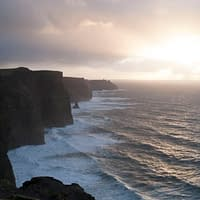 the cliffs of moher rise 120m above the atlantic ocean